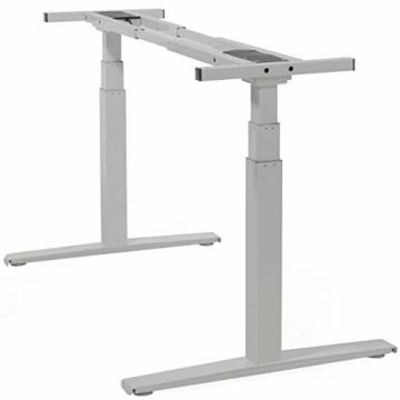 boHo möbelwerkstatt Basic Line elektrisch stufenlos höhenverstellbarer Schreibtisch in Silber mit Gratis Memorysteuerung / Kabelmanagement sowie hochsensiblen Kollisionsschutz und Soft-Start/Stop - 2