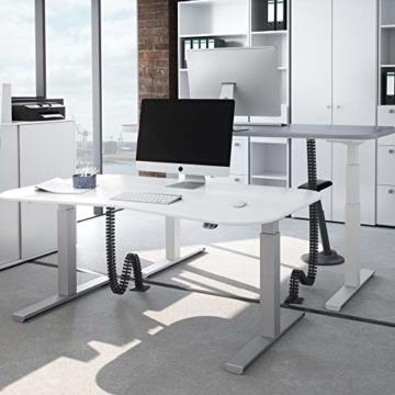 boHo möbelwerkstatt Basic Line elektrisch stufenlos höhenverstellbarer Schreibtisch in Silber mit Gratis Memorysteuerung / Kabelmanagement sowie hochsensiblen Kollisionsschutz und Soft-Start/Stop - 3
