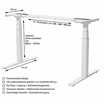 boHo möbelwerkstatt Basic Line elektrisch stufenlos höhenverstellbarer Schreibtisch in Silber mit Gratis Memorysteuerung / Kabelmanagement sowie hochsensiblen Kollisionsschutz und Soft-Start/Stop - 6