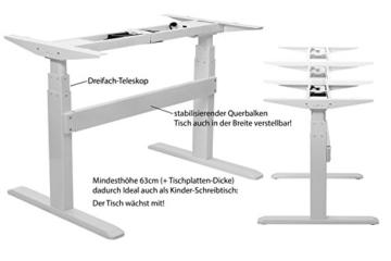 Exeta Elektrisch höhenverstellbarer Schreibtisch (Vers. 2018) mit 2 Motoren, 3-fach-Teleskop,Memory-Funkt. und Softstart/-Stopp, elektrisch höhenverstellbares Tischgestell – für gängige Tischplatten - 2