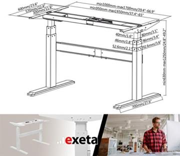 Exeta Elektrisch höhenverstellbarer Schreibtisch (Vers. 2018) mit 2 Motoren, 3-fach-Teleskop,Memory-Funkt. und Softstart/-Stopp, elektrisch höhenverstellbares Tischgestell – für gängige Tischplatten - 7