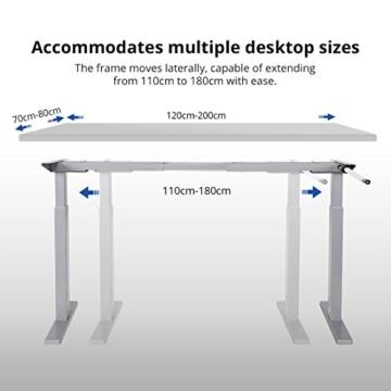 Flexispot H2S Höhenverstellbarer Schreibtisch Kurbelverstellbares Tischgestell, Passt für Alle Gängigen Tischplatten. - 3