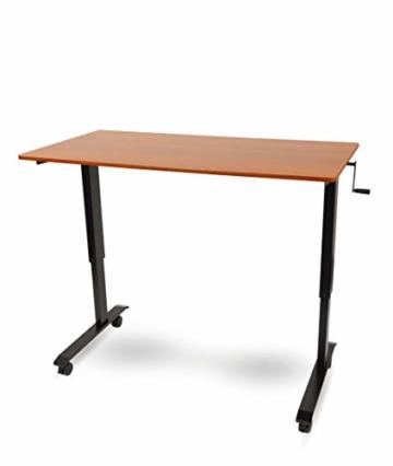 Kurbelverstellbarer Sitz-Stehtisch - Wohnung Schreibtisch (Rahmen schwarz / Teakholz, Schreibtisch Länge: 150cm) - 3
