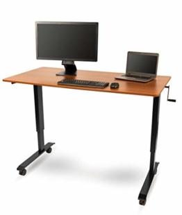 Kurbelverstellbarer Sitz-Stehtisch - Wohnung Schreibtisch (Rahmen schwarz / Teakholz, Schreibtisch Länge: 150cm) - 1