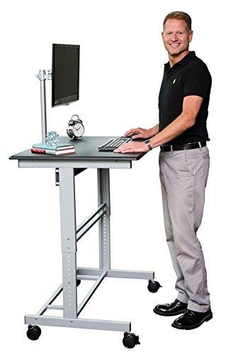 Stand Up Desk Store 100cm Länge Höhenverstellbarer Schreibtisch (Rahmen silber/Holz schwarz) - 2