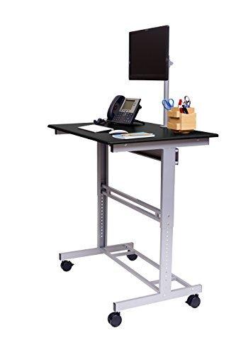 Stand Up Desk Store 100cm Länge Höhenverstellbarer Schreibtisch (Rahmen silber/Holz schwarz) - 3